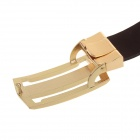 Fashionable Men's Pin Buckle Split Leather Belt for Men - Dark Brown + Golden