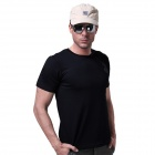 LANGZUYOUDANG 2170 Men's Outdoor Sports Quick-Dry Short-sleeved Dacron T-shirt - Black (M)