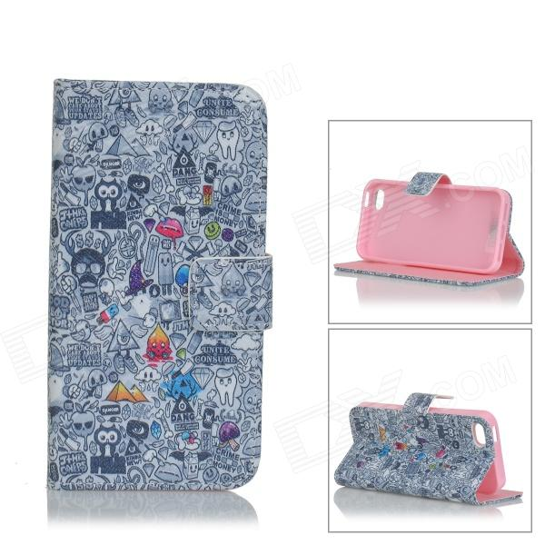 IKKI Flip-open Graffiti Pattern PU Leather Case w/ Holder + Card Slot for IPHONE 5S / 5 - Multicolor ikki sweet cartoon pattern flip open pu case w holder card slot for samsung galaxy s3 mini i8190