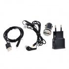 4-in-1 EU Plug Adapter + Car Charger + In-ear Earphone + Charging Cable - Black