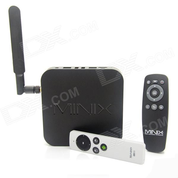 MINIX NEO X8-H Android 4.4.2 Google TV Player w/ 2GB RAM, 16GB ROM + RC9 Air Mouse - Black - DXSmart TV Players<br>Color Black Built-in Memory / RAM 2GB Storage 16GB Plug Specifications EU Plug (2-Round-Pin Plug) Brand MINIX Model NEO X8-H Quantity 1 Set Material Plastic Shade Of Color Black Operating System Android 4.4.2 Chipset Amlogic S802-H CPU Cortex-A9 Processor Frequency 96MHz~1992MHz GPU Mali 450 Menu Language EnglishFrenchGermanItalianSpanishPortugueseRussianVietnamesePolishGreekDanishNorwegianDutchArabicTurkishJapaneseBahasa IndonesiaKoreanThaiHungarianMalaySlovakCzechGreekRomanianSwedishFinnishChinese SimplifiedChinese TraditionalBulgarianNorwegianHebrew RAM/Memory Type DDR3 SDRAM Max Extended Capacity 32GB Supports Card Type SD External HDD 2TB Wi-Fi 802.11 b/g/n 2.4GHz / 5.8GHz Bluetooth Version V4.0 3G Function Yes Wireless Keyboard/Mouse 2.4GHz / 5.8GHz Audio Formats MP3WMAAPEFLACOGGAC3DTSAAC Video Formats RMRMVBAVIDIVXMKVMOVHDMOVMP4M4VPMPAVCFLVVOBMPGDATMPEGH.264MPEG1MPEG2MPEG4WMVTP Audio Codecs DTSAC3LPCMFLACHE-AAC Video Codecs MPEG-1MPEG-2MPEG-4H.264VC-1 Picture Formats JPEGBMPPNGGIFTIFFjps(3D)mpo(3D) Subtitle Formats MicroDVD [.sub]SubRip [.srt]Sub Station Alpha [.ssa]Sami [.smi]idx+subPGS Output Resolution 1080P HDMI 1.4 Audio Output HDMI 3.5mm jack Optical audio Video Output HDMI USB USB 2.0Micro USB Other Interface 1 x 3.5mm jack / 1 x SD card slot / 1 x Micro USB / 3 x USB 2.0 / 1 x LAN / 1 x DC jack Power Supply 100~240V APP Built-in XBMC Compatible Application FacebookYoutubeSkypeNetflixXBMCHulu Firmware Upgrade www.minix.com.hk Certification CE / FCC / RoHS Packing List 1 x Google TV player 1 x OTG cable (23cm) 1 x Power with cable (180cm) 1 x Micro USB cable (100cm) 1 x HDMI cable (102cm) 1 x Remote control (2 x AAA batteries not included) 1 x English user manual 1 x Antenna 1 x RC9 air mouse with USB receiver 1 x USB cable (15cm) 1 x English user manual for RC9<br>