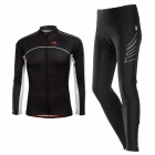 TOP CYCLING SAE121 / SAK355 Men's Cycling Long Jersey Clothes + Pants + Saddle Pad Set - Black (XL)