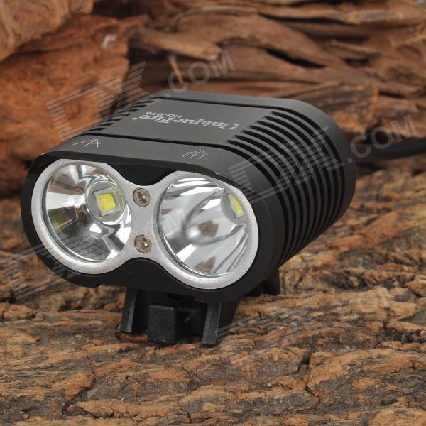 UniqueFire HD-016 1100lm 2-LED 4-mode Cool White Head / Bike Lamp - Black (4 x 18650)