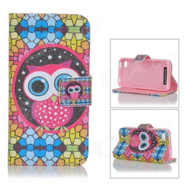 Sunshine Cute Cartoon Owl Pattern Flip-open PU Case w/ Holder + Card Slot for IPHONE 4 / 4S sunshine cute cartoon owl pattern flip open pu case w holder card slot for iphone 4 4s