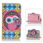 Sunshine Cute Cartoon Owl Pattern Flip-open PU Case w/ Holder + Card Slot for IPHONE 4 / 4S