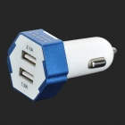 3.1A Dual USB Output Car Charger for IPHONE / IPOD / IPAD + More - White + Bright Blue