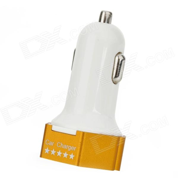 3.1A Dual USB Output Car Charger for IPHONE / IPOD / IPAD + More - White + Golden