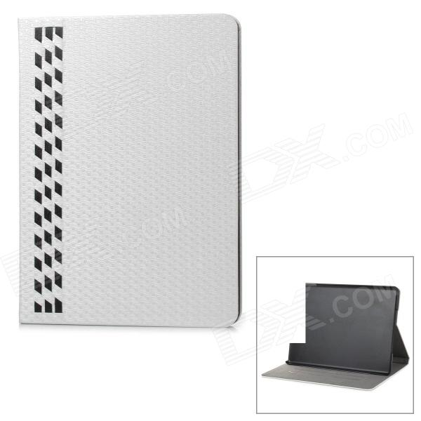 IP53 Hand-weaved PU + PC Full Body Case w/ Stand / Card Slots for IPAD AIR - White + Black