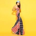 U.S Flag Pattern Strapless Slim Long Lycra Dress - White + Red + Multi-Colored
