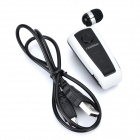 Fineblue F910 retrátil Bluetooth V3.0 Single-Ear In-Ear Earphone w / Mic - preto + branco