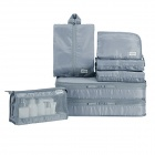 Portable Folding Water Resistant Nylon Clothes Storage Bag Set for Travel - Grey (7PCS)