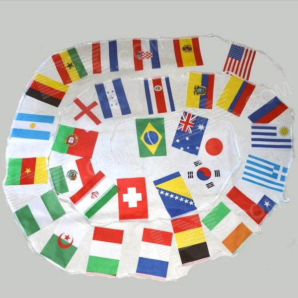 2014 Brazil World Cup Football Bunting 32 National Teams Flags Set - Multicolor