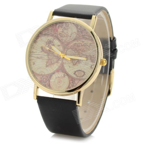 Fashionable Tellurion Pattern PU Wristband Analog Quartz Watch - Black (1 x 377)
