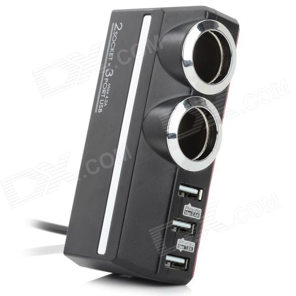 Kashimura KX-179 Car Cigarette Lighter w/ 2 Sockets / 3 USB 2.0 Ports - Black + Silver