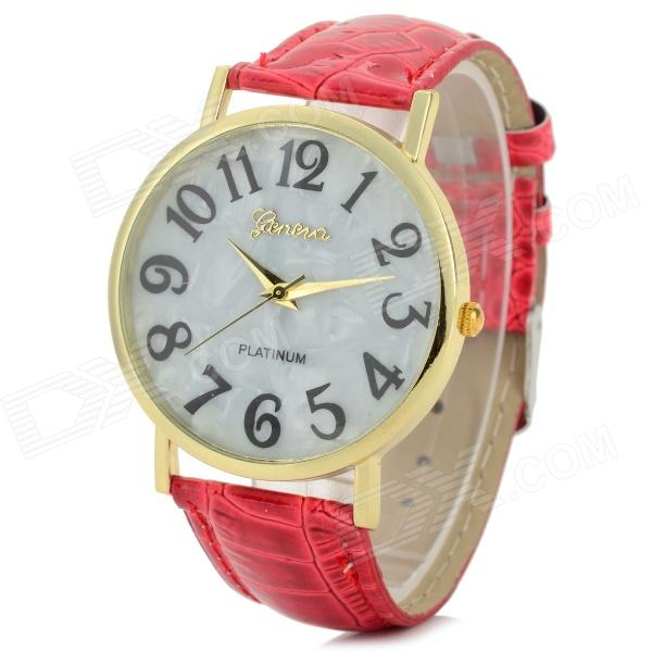 Fashionable Women's PU Band Analog Quartz Wrist Watch - Red (1 x 377)