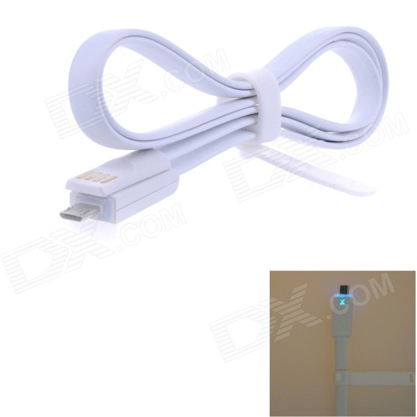 USB 2.0 to Micro USB Charging/Data Cable w/ LED Indicator for Samsung / HTC / Sony - White (100cm) charging docking station w usb data charging cable for samsung galaxy note i9220 black