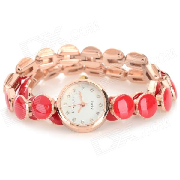 Women's Stylish Circular Bracelet Analog Quartz Wristwatch - Red + Golden (1 x 377) stylish bracelet band quartz wrist watch golden silver 1 x 377