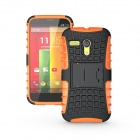 Protective TPU + PC Case Stand for Motorola Moto G Phone - Orange + Black