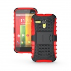 Protective TPU + PC Case Stand for Motorola Moto G Phone - Red + Black