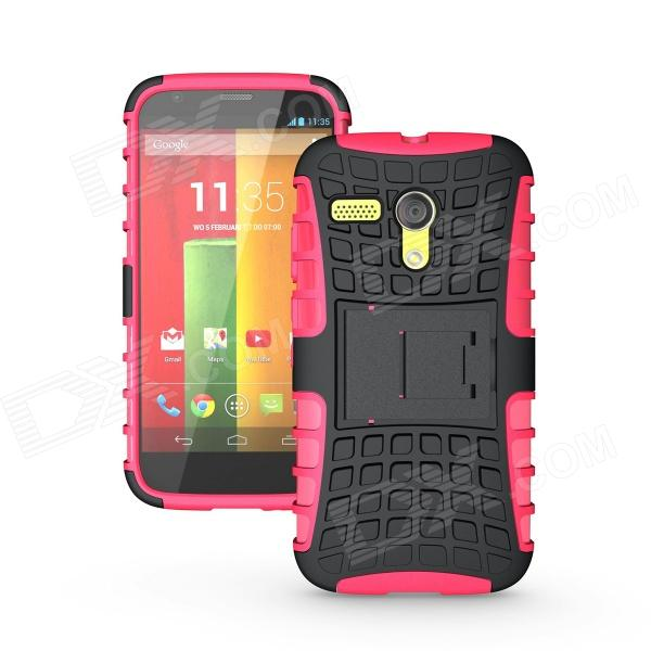 Protective TPU + PC Case Stand for Motorola Moto G Phone - Deep Pink + Black oxygen winner w130