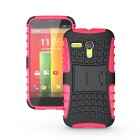 Protective TPU + PC Case Stand for Motorola Moto G Phone - Deep Pink + Black