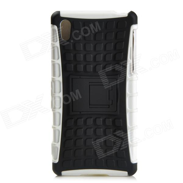Protective TPU + PC Case w/ Holder for Sony Xperia Z2 - Black + White 2 in 1 protective tpu pc back case for sony xperia z2 l50w white