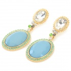 ER-3841 Women's Classic Luxury Large Diamonte Pendant Earring - Golden + Blue (2 PCS)
