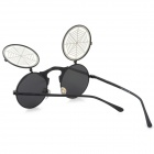 OREKA S882 Spider Web Style Flip-open UV400 PC Lens Sunglasses - Black + Antique Silver + Grey