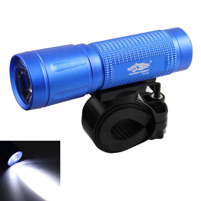 FLY WOLFS L22A LED 250lm 3-Mode White Light Bike Flashlight + Tail Safety Light - Blue