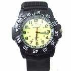 Men's Sports Outdoor Cloth Belt Analog Quartz Wrist Watch - Black (1 x LR626)