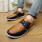 SNJ PU Leather Shoes for Men - Dark Blue + Brown (Size 43)