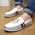 SNJ Casual Cross Pattern PU Shoes - Grey + White (Size 42 / Pair)