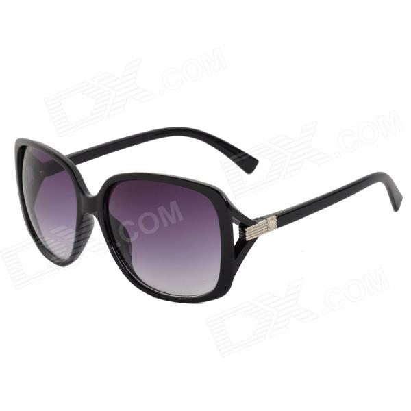 Oulaiou 9508 Women's UV400 Protection Plastic Frame Resin Lens Sunglasses - Black + Purple