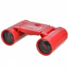 Plastic 2.5X Magnification Binocular Telescope Toy w/ Strap - Red