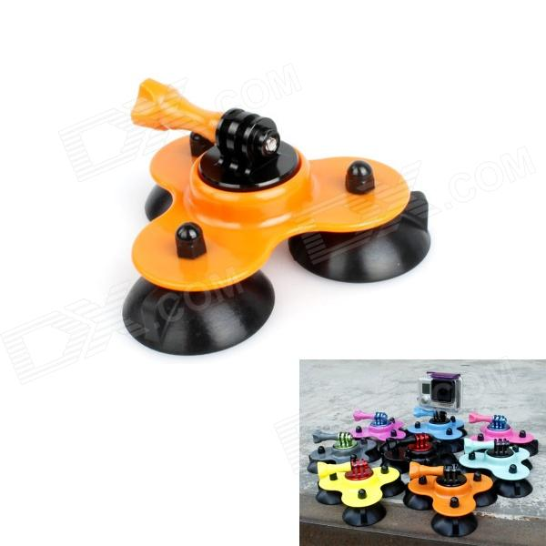 BZ BZC 3-Suction Cup Aluminum Alloy Car Adapter Holder for Gopro Hero 4/ 2 / 3 / 3+ / SJ4000 - Orange pannovo waterproof pu leather extra thick anti shock eva case for gopro hero 4 3 3 2 sj4000