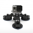 JUSTONE 3D Printing Car 3-Suction Cup Holder Mount for Gopro Hero 4/ 1 / 2 / 3 / 3+/SJ4000 - Black