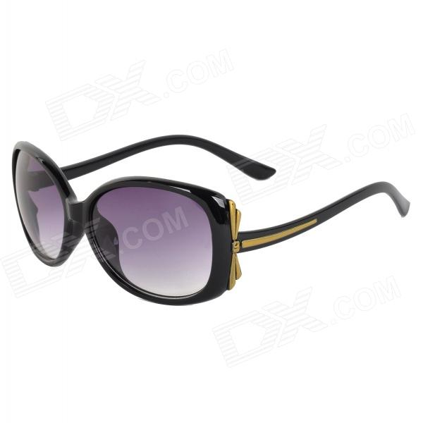 Oulaiou 9511 Women's Fashionable UV400 Protection Plastic Frame Resin Lens Sunglasses - Black + Grey