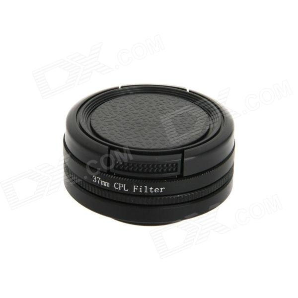 DUALANE 37mm CPL Filter + Lens Hood + Lens Cap Kit for GoPro Hero 3 / 3+ - Black