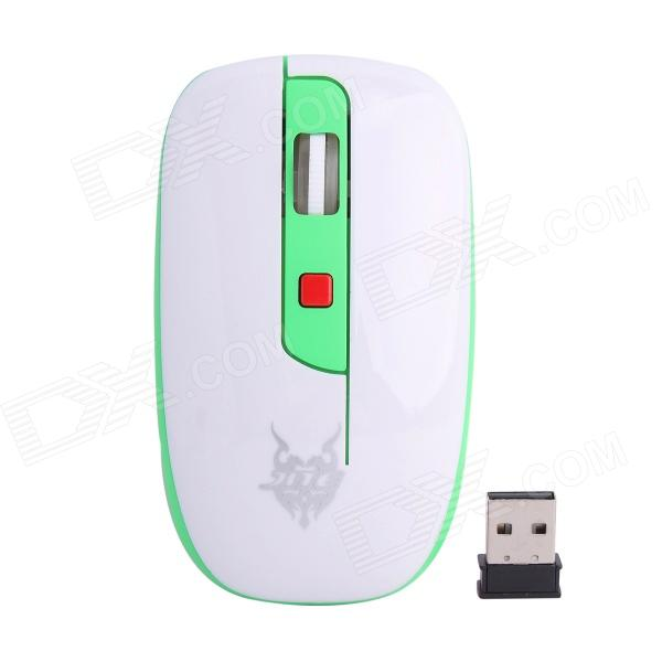Jiete 3237 2.4GHz Wireless 1000~1600DPI Optical Mouse - Green + White