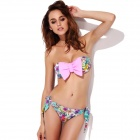 The Fille 23011-707 Women's Bowknot Floral Chinlon + Spandex Bikini Swimsuit - Pink + Yellow (L)