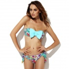 The Fille 23011-7071 Women's Bowknot Floral Chinlon + Spandex Bikini Swimsuit - Sky Blue + White (L)