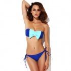 The Fille 23011-600 Women's Bowknot Chinlon + Spandex Bikini Swimsuit - Blue (L)