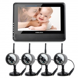 "890+706DX4 7"" TFT LCD Wireless 4-CH DVR Monitor + 4-0.3MP CMOS Camera Security System w/ 24-IR LED"