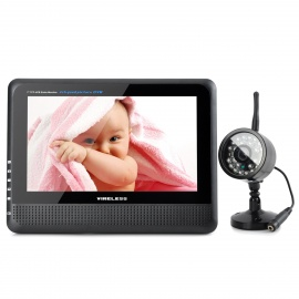 "890+706DX1 7"" TFT LCD Wireless 4-CH DVR Monitor + 0.3MP CMOS Camera Security System w/ 24-IR LED"