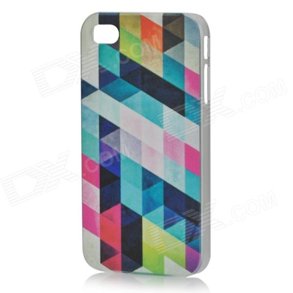Rhombus Pattern Protective ABS Back Case for IPHONE 4 / 4S - White + Multicolored stylish 3d eagle pattern protective abs pc back case for iphone 4 4s multicolored