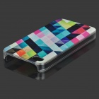 Rhombus Pattern Protective ABS Back Case for IPHONE 4 / 4S - White + Multicolored