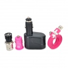 1-to-2 Cigarette Lighter  + 12V Car 2-Socket Lighter Adapter + USB Car Charger + Micro USB Cable Set