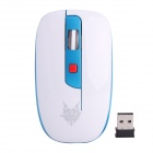 Jiete 3237 2.4GHz Wireless 1000~1600DPI Optical Mouse - Blue + White