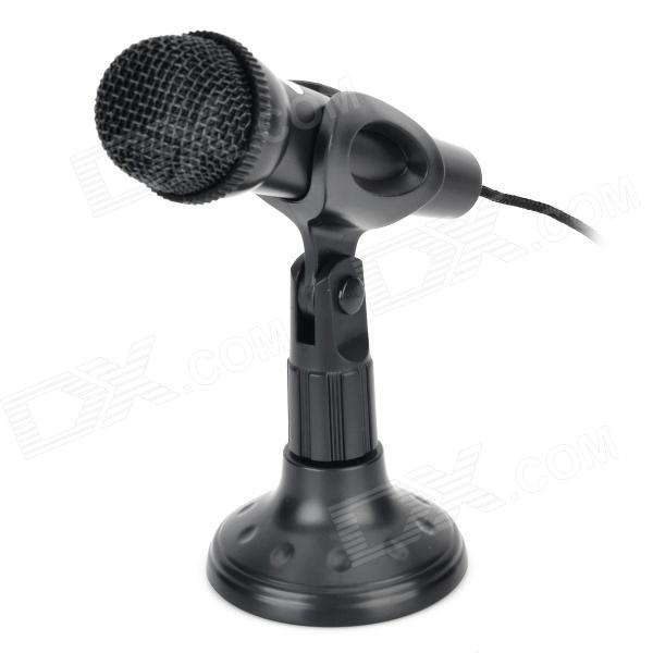 Kanen MIC202 Desktop 3.5mm Plug Omnidirectional Microphone w/ Stand Holder - Black (Cable-145cm) шорты philipp plein цвет синий