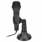 Kanen MIC202 Desktop 3.5mm Plug Omnidirectional Microphone w/ Stand Holder - Black (Cable-145cm)